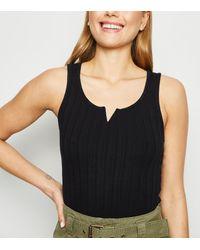 New Look Black Ribbed Notch Neck Vest