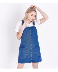 New Look Petite Blue Denim Pinafore Dress