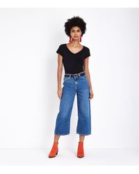 70d87bb4481 New Look Blue Cropped Wide Leg Jeans in Blue - Lyst