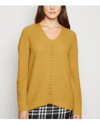 New Look Yellow Mustard V Neck And Back Jumper