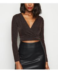 Urban Bliss Black Glitter Ribbed Wrap Top