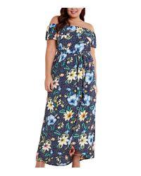 Mela Curves Blue Floral Polka Dot Maxi Dress