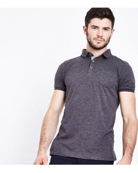 New Look Gray Dark Grey Pocket Front Polo T-shirt for men