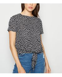 New Look Black Floral Tie Front T-shirt