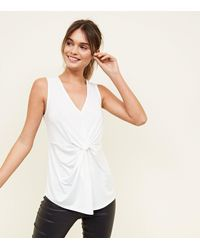 New Look White Twist Front Sleeveless Top
