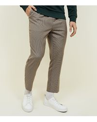 New Look Brown Houndstooth Pull On Trousers for men