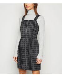 New Look Black Check Zip Up Mini Pinafore Dress