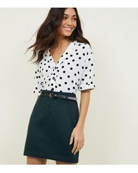 New Look Dark Green Belted Brushed Twill A-line Skirt