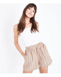 New Look Brown Stripe Tie Waist Shorts
