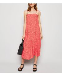New Look Red Ditsy Floral Tiered Smock Midi Dress