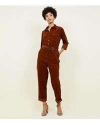 4c235d59a3b New Look Rust Corduroy Belted Utility Jumpsuit in Brown - Lyst