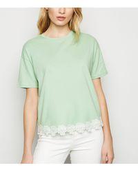 New Look Light Green Crochet Hem T-shirt
