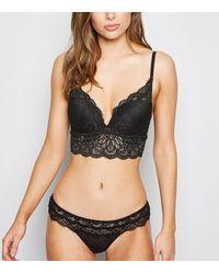 New Look Black Lace Scallop Hem Longline Push-up Bra