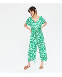 New Look Green Floral V Neck Drawstring Crop Jumpsuit