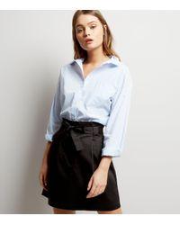 New Look Black Tie Waist Paperbag Mini Skirt