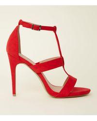 New Look - Red Suedette Stiletto Heel Gladiator Sandals - Lyst