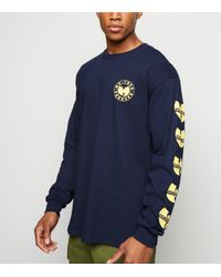 New Look Blue Navy Wu-tang Clan Logo Long Sleeve T-shirt for men