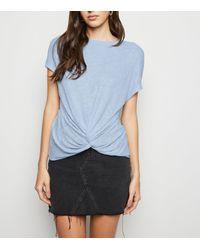New Look Pale Blue Fine Knit Twist Front Top