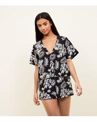 New Look Petite Black Tropical High Waist Shorts