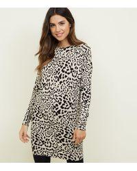 New Look Brown Leopard Print Jumper Dress