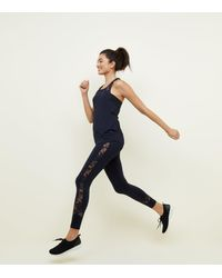 New Look Blue Navy Floral Lace Panel Sports Leggings