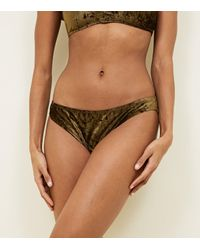 New Look Natural Khaki Velvet Bikini Bottoms