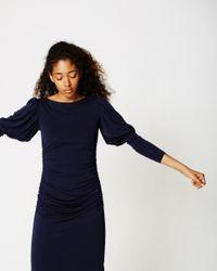 Nicole Miller Blue Puff Sleeve Dress