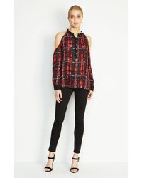 Nicole Miller Red Leigh Barbed Plaid Blouse