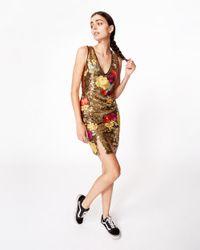 Nicole Miller Metallic Flora Fauna Dress