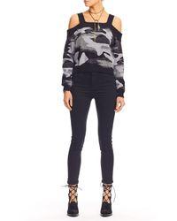 Nicole Miller   Black Camo Cold Shoulder Sweater   Lyst