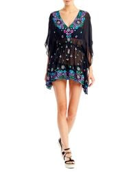 Nicole Miller - Black Aztec Embroidered Caftan - Lyst
