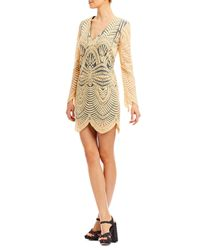 Nicole Miller Multicolor Island Embroidery Bell Sleeve Dress