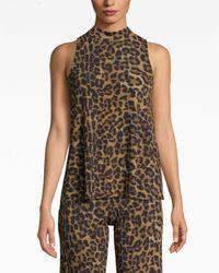 Nicole Miller Multicolor Furry Leopard Jersey Turtleneck Top