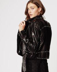 Nicole Miller Black Sammi Studded Leather Jacket