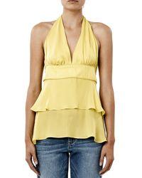 Nicole Miller Yellow Solid Silk Ruffle Halter Top
