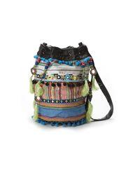 Nicole Miller Multicolor Striped Fabric Bucket Bag