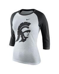 Nike - White College Tri Raglan (usc) Women's 3/4 Sleeve T-shirt - Lyst