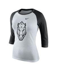 Nike | Black College Tri Raglan (arkansas) Women's 3/4 Sleeve T-shirt | Lyst
