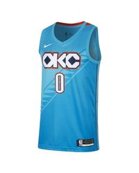 Maglia NBA Connected Russell Westbrook City Edition Swingman (Oklahoma City Thunder) di Nike in Blue da Uomo
