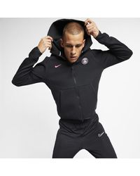 Nike Black Paris Saint-germain Tech Fleece Full-zip Hoodie for men
