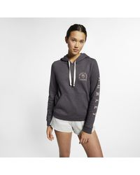 Felpa pullover in fleece con cappuccio Hurley Combo Swells di Nike in Gray