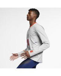 T-shirt da running a manica lunga Dri-FIT di Nike in Gray da Uomo