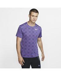 Nike Blue Dri-fit Miler Short-sleeve Knit Running Top for men