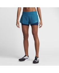 "Nike - Blue Flex 2-in-1 Women's 3"" Running Shorts - Lyst"