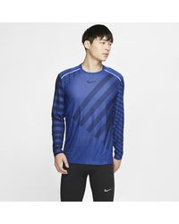 Nike Blue Techknit Long-sleeve Running Top for men