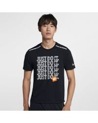 Nike Black Rise 365 Short-sleeve Running Top for men