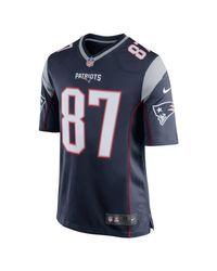 Maglia da football americano NFL New England Patriots (Rob Gronkowski) Game Home di Nike in Blue da Uomo