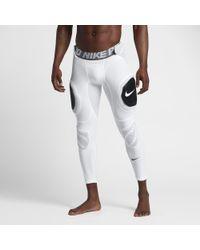 Nike White Pro Hyperstrong Hard Plate Men's 3/4 Football Tights for men