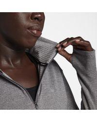 Top da running con zip a metà lunghezza Therma Sphere di Nike in Gray