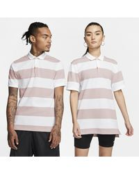 Nike Pink The Polo Unisex Slim-fit Striped Polo